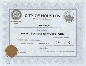 Women Business Enterprise Certificate use