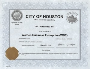 Women Business Enterprise Certificate use
